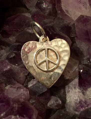 Hammered Heart Peace Sign Charm for Necklace