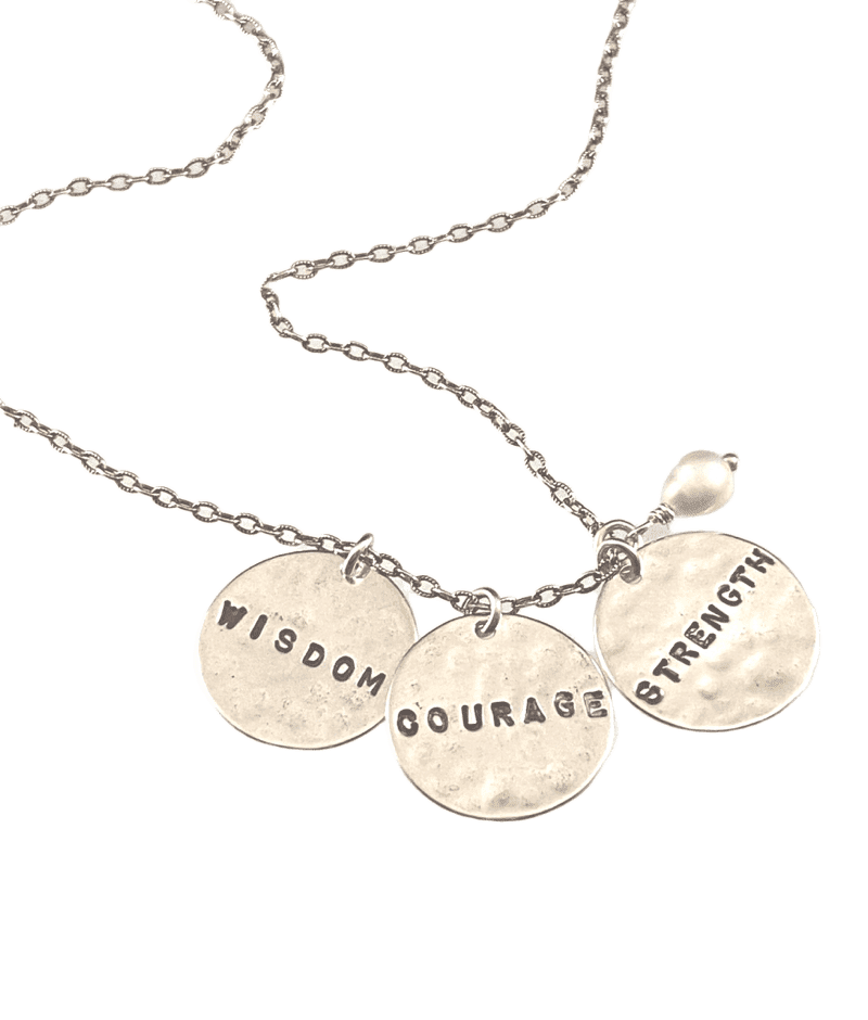 "16"" Sterling silver 'Wisdom Courage Strength' Necklace"