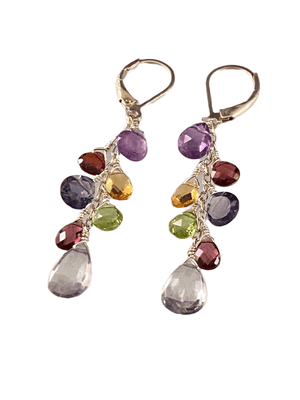 #229 Blue Sapphire Peridot Amethyst Citrine Garnet Iolite Silver Waterfall Gemstone Earrings