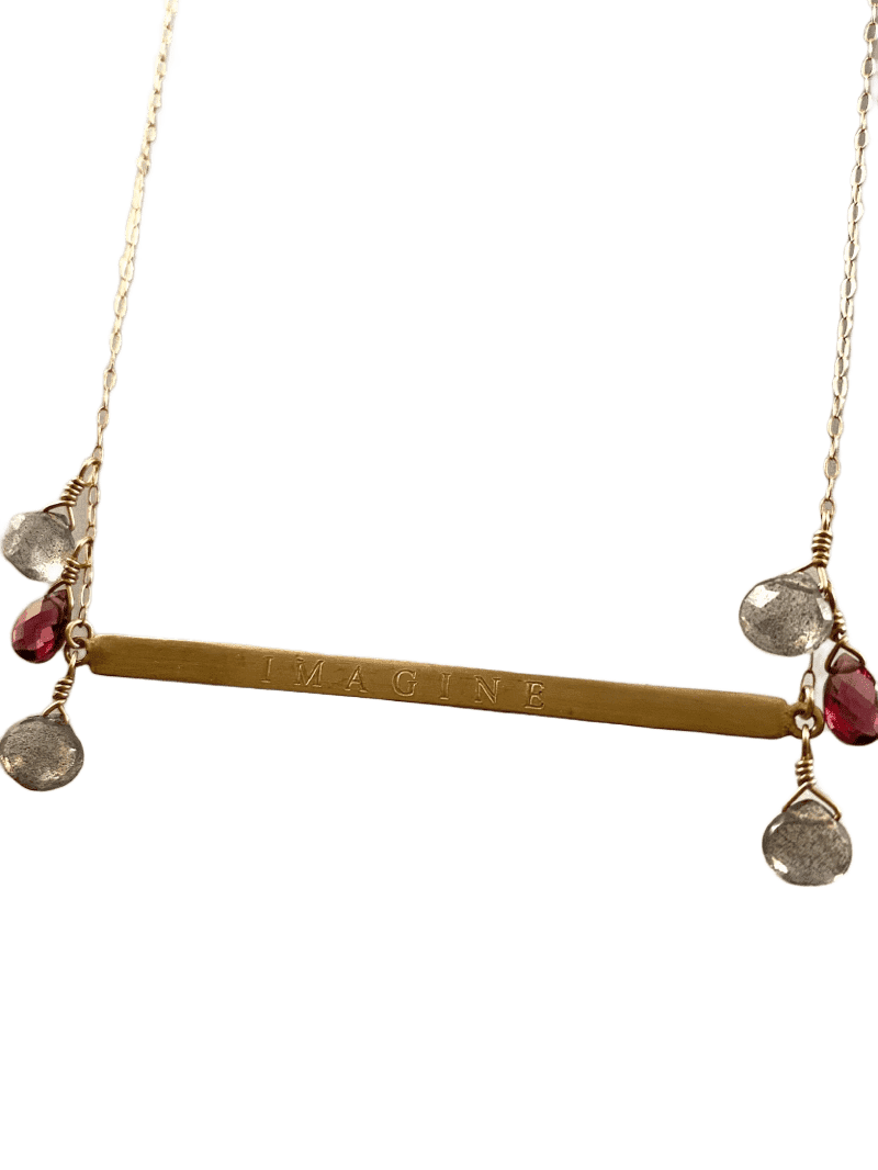 "18"" 14k Gold ID Imagine Necklace with Garnet & Labradorite"