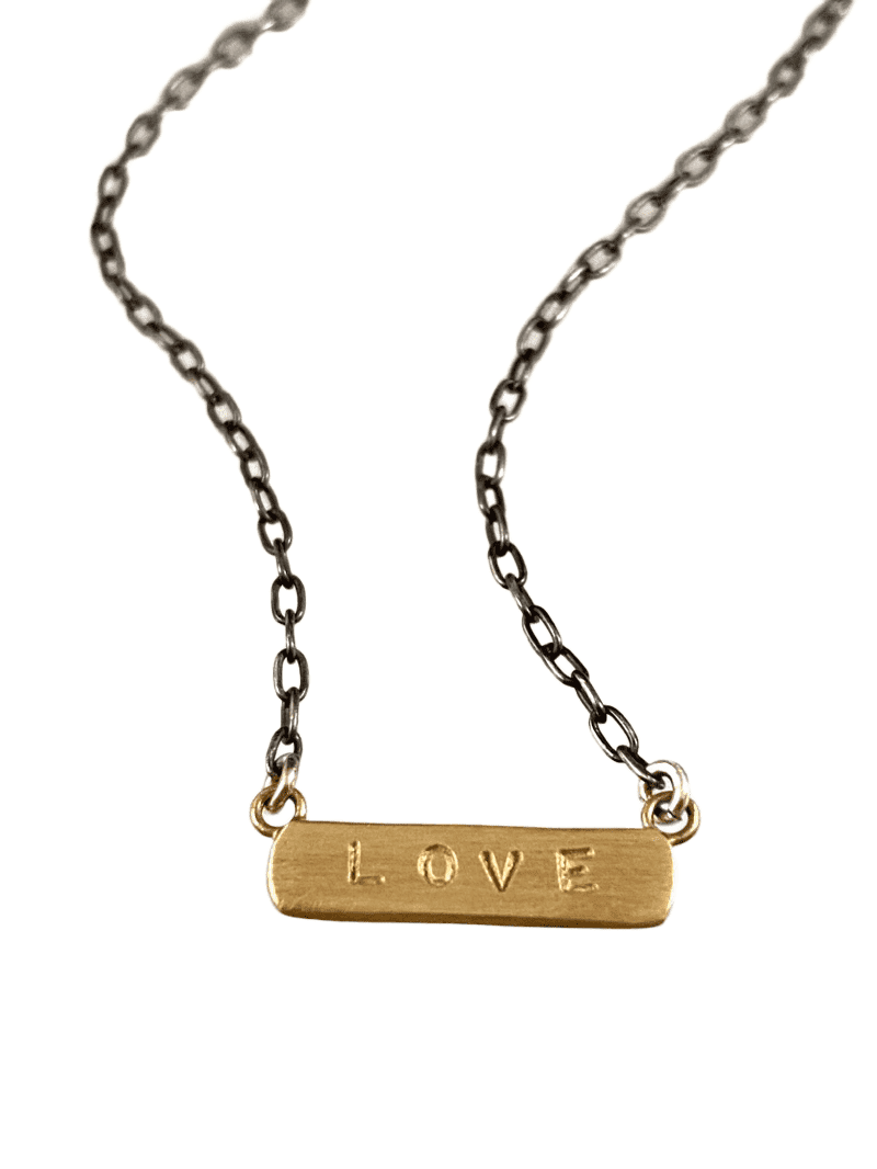 "18"" 14k Gold LOVE ID Necklace on Sterling Chain"