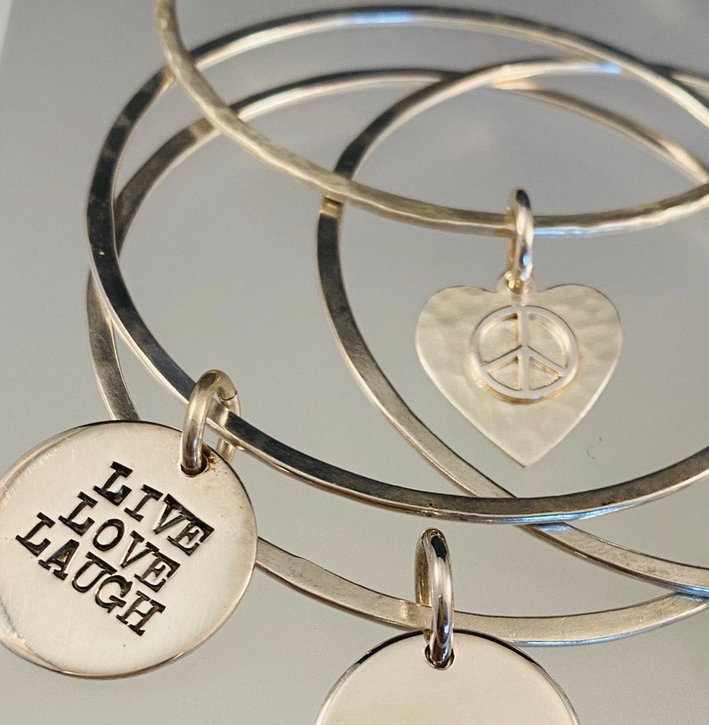 Live Love Laugh Charm Bangle Bracelet