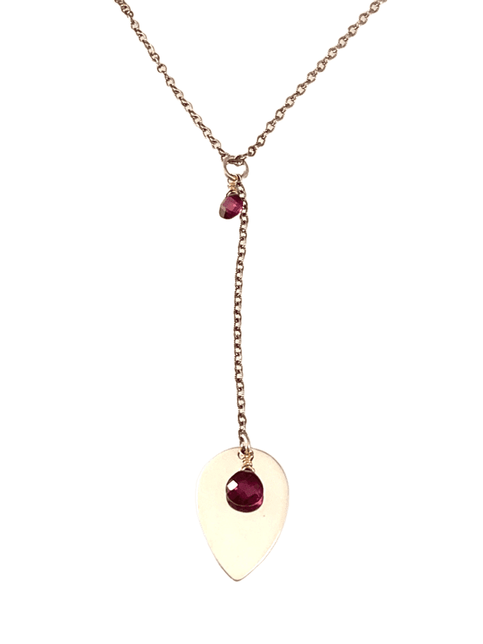 "16"" Garnet and Sterling Y Chain Drop Necklace"
