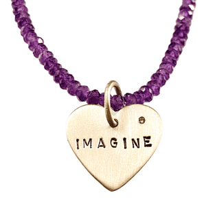 Sterling Imagine Heart on Amethyst Bead Necklace