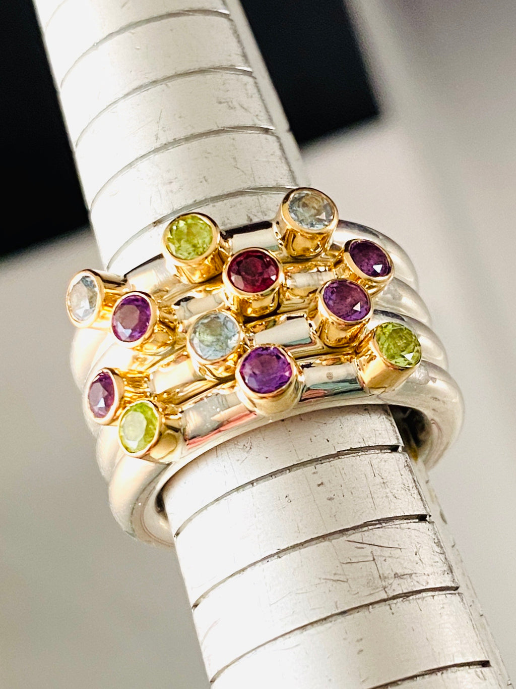 Sterling & 14K Gold Triple Gem Stack Ring