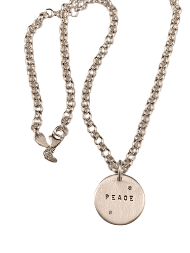 #205 Sterling 'Peace' with Diamonds Charm Necklace