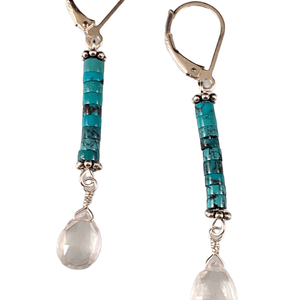 Sterling Silver Turquoise and Faceted Rose Quartz Teardrop Earrings