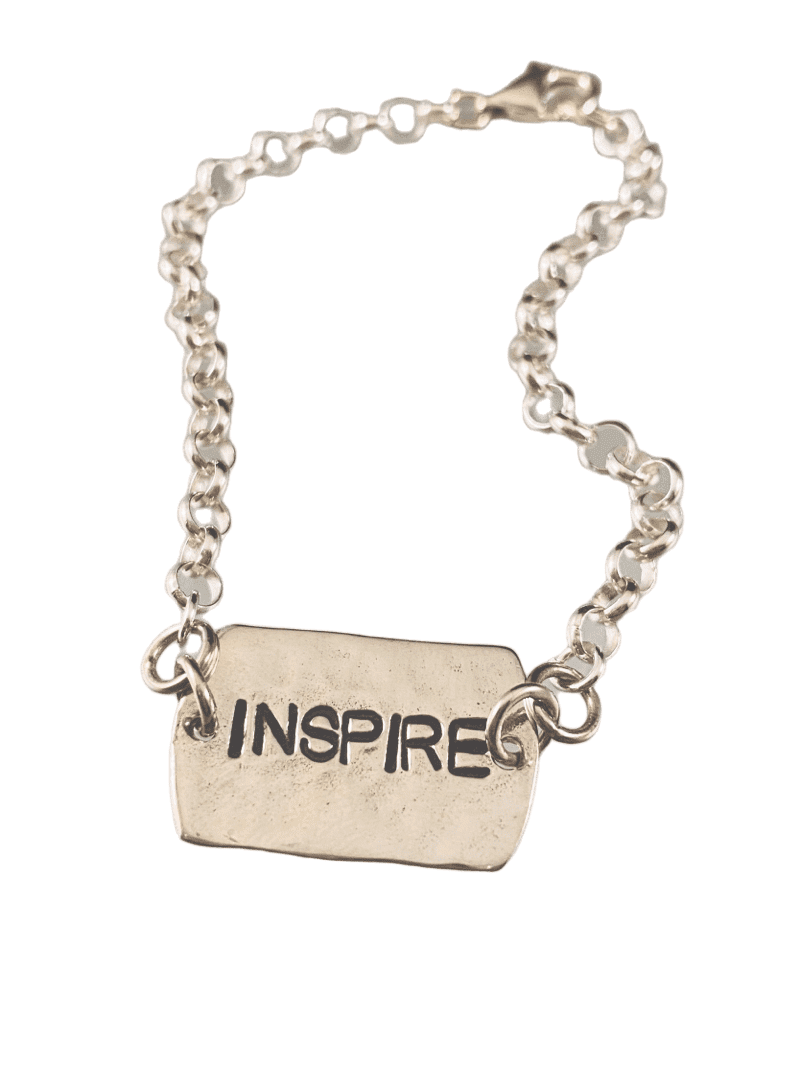 #B110 'Inspire' Sterling Hammered Tag ID Bracelet