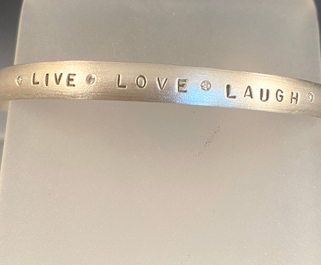 Live Love Laugh Diamond Bangle Bracelet