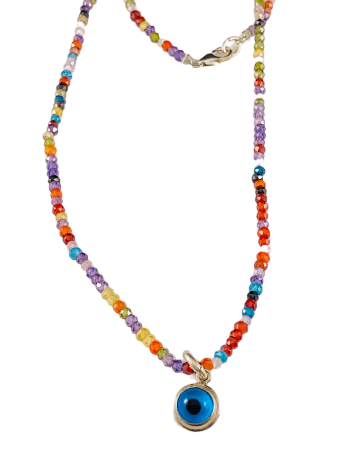 "18"" Faceted Cubic Zirconia Delicate Bead Sterling Evil Eye Necklace"