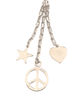 "16"" Sterling Silver Streaming Star Peace Sign and Heart Charm Necklace"