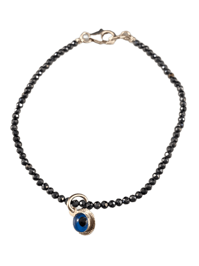 Faceted Delicate Bead Sterling Evil Eye Bracelet