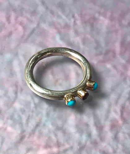 Sterling & 14K Gold Turquoise & Fire Opal Ring