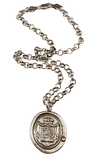 "18"" Sterling Silver Heavy Crest Necklace with Diamond"