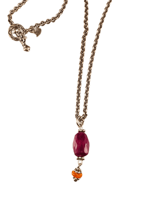 "16"" Faceted Ruby & Mexican Fire Opal Charm Necklace"