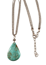 "16""- 18"" Sterling Silver Turquoise Teardrop Charm Necklace"