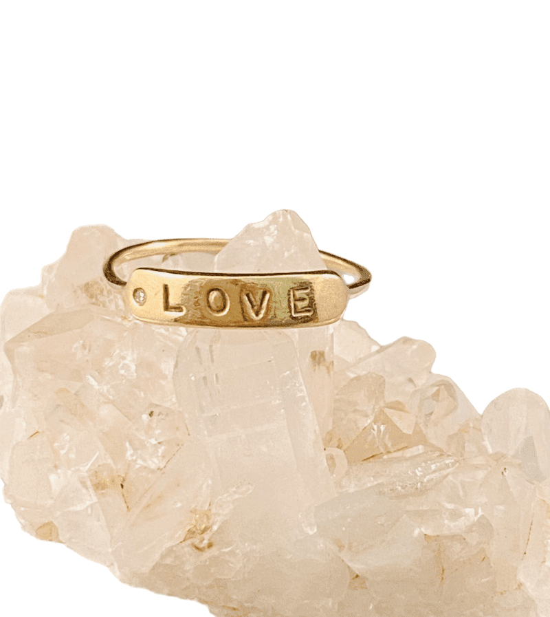 14K Solid Gold Stamped Love & Diamond Ring