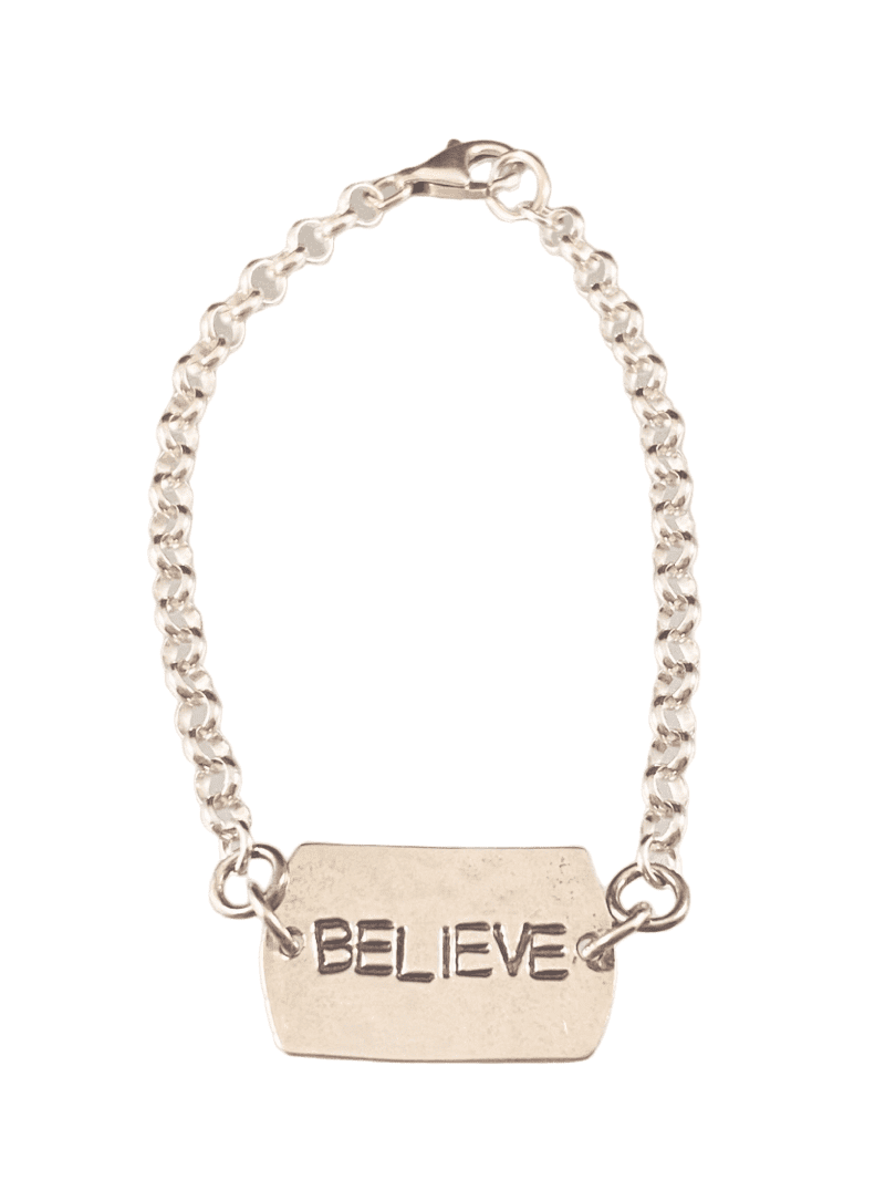 #B111 'Believe' Sterling Hammered Tag ID Bracelet