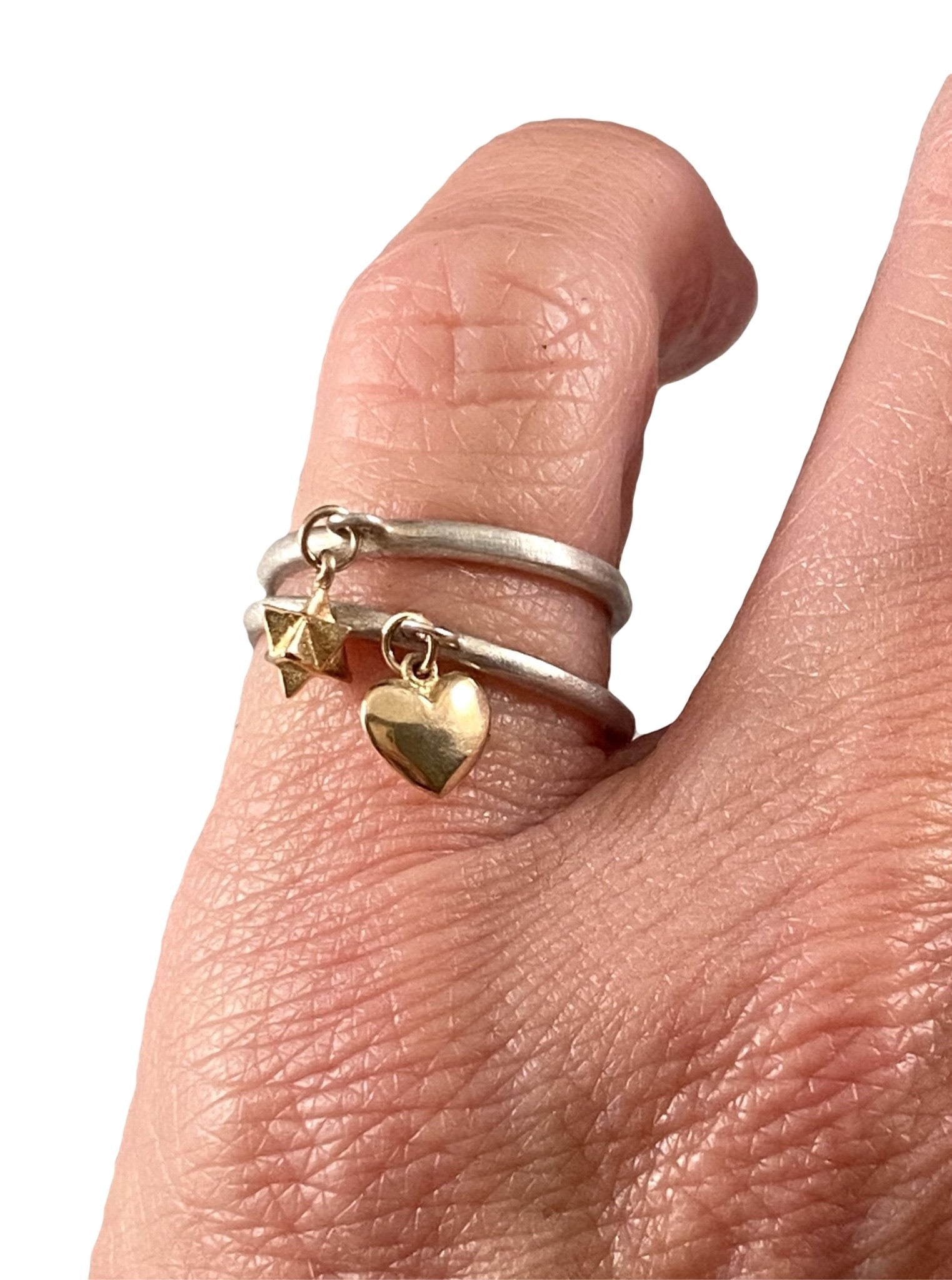 Sterling & 14K Gold Tiny Heart Charm Ring