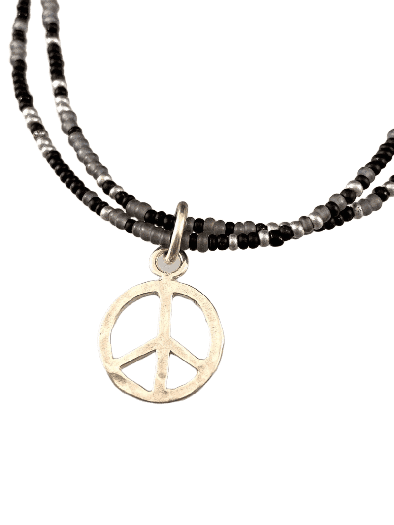 Peace Sign Double Strand Beaded Anklet Mixed Black & Silver