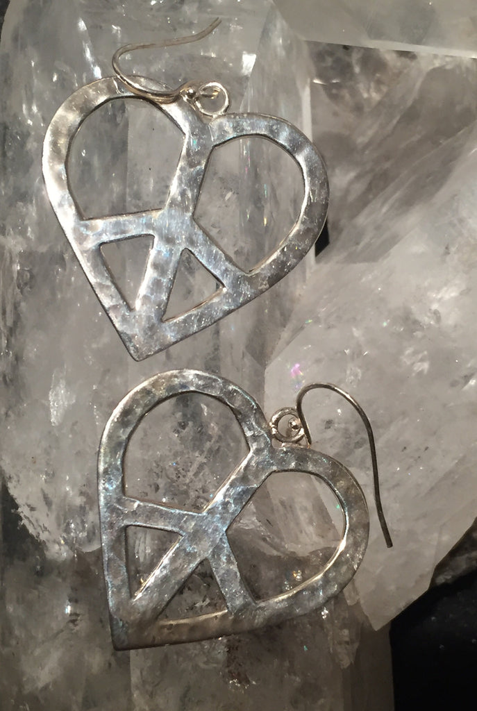 Sterling Silver Large Heart Peace Sign Earrings