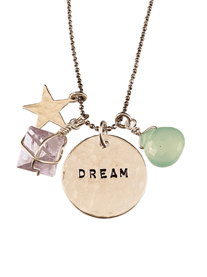 "18"" Dream & Star Gemstone Charm with Necklace Fluorite & Chalcedony"