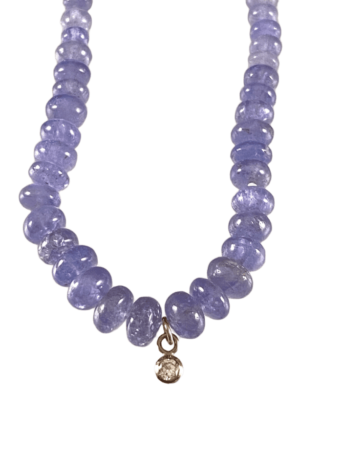 "16"" Tanzanite Beads with 14k White Gold Diamond Charm Necklace"