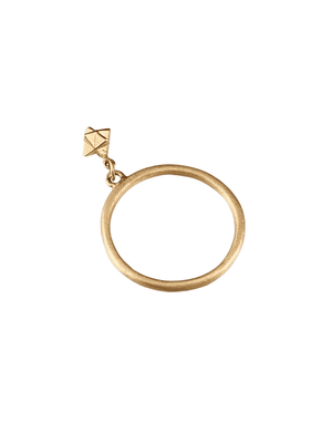 14K Solid Yellow Gold Tiny Merkabah Charm Ring Size 6