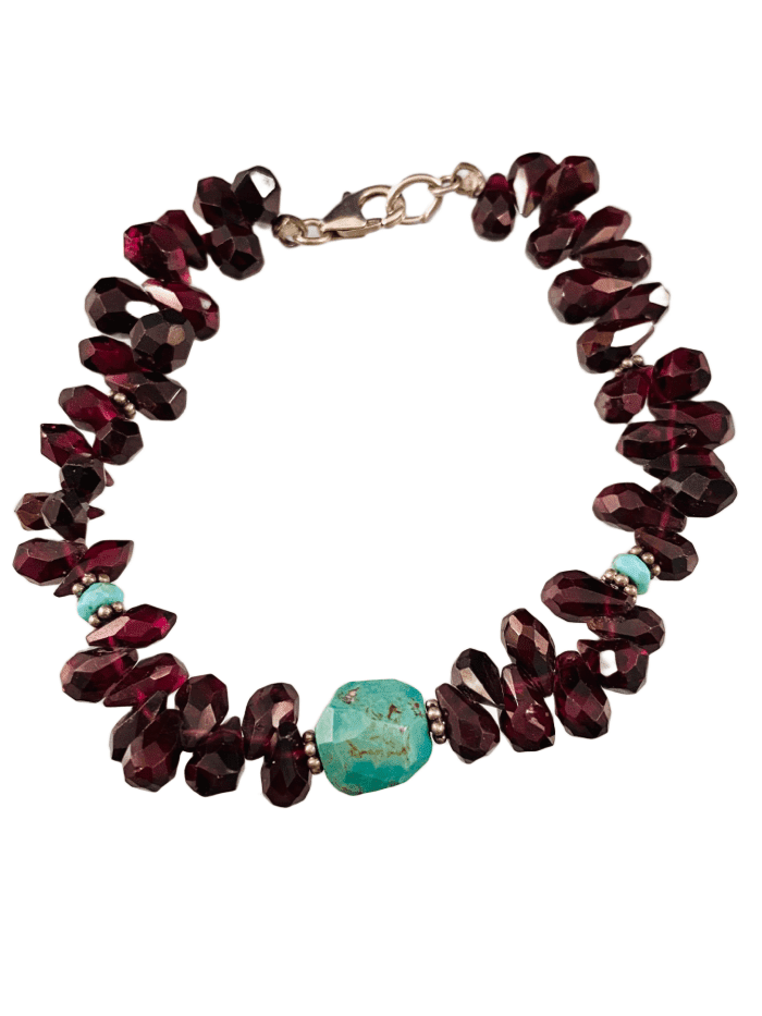 Faceted Garnet Teardrop & Turquoise  Gemstone Beaded Bracelet