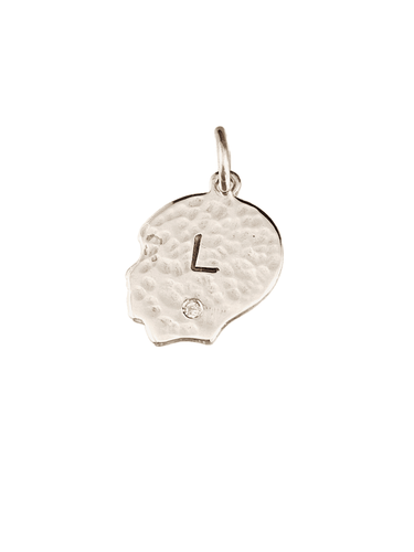 Personalized Sterling Silver Hammered Boy & Diamond Charm