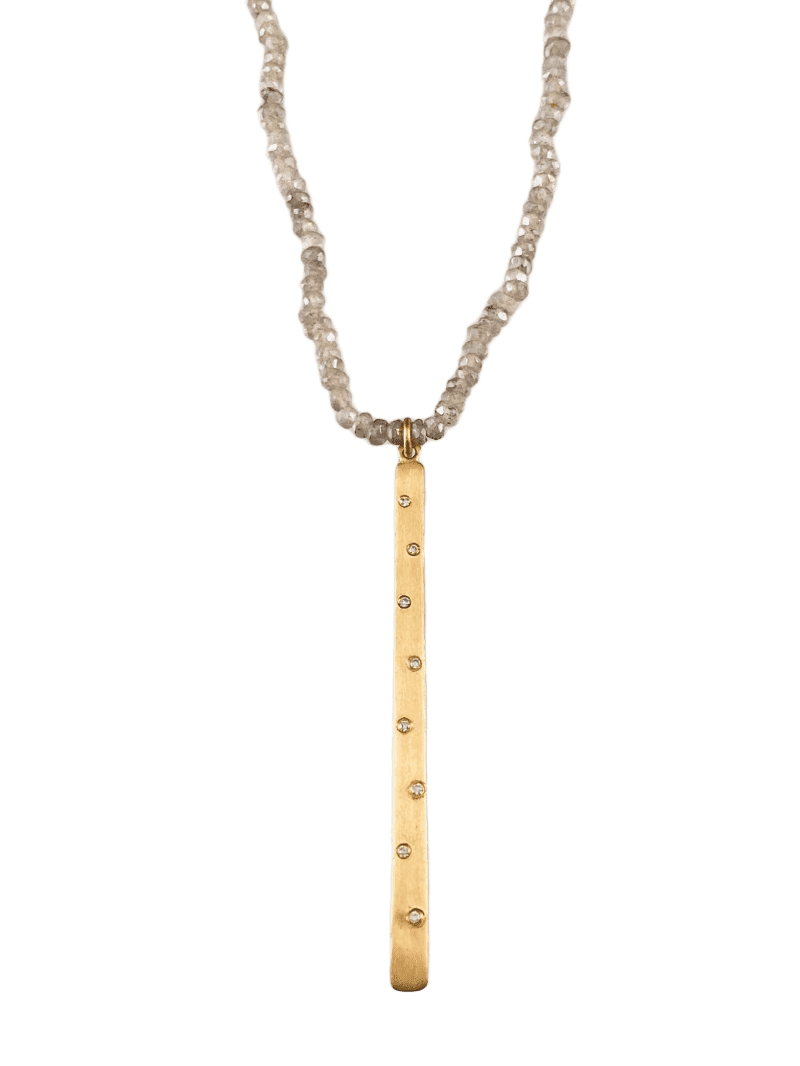 "17.5"" 14k Gold Diamond Matchstick Charm Necklace"
