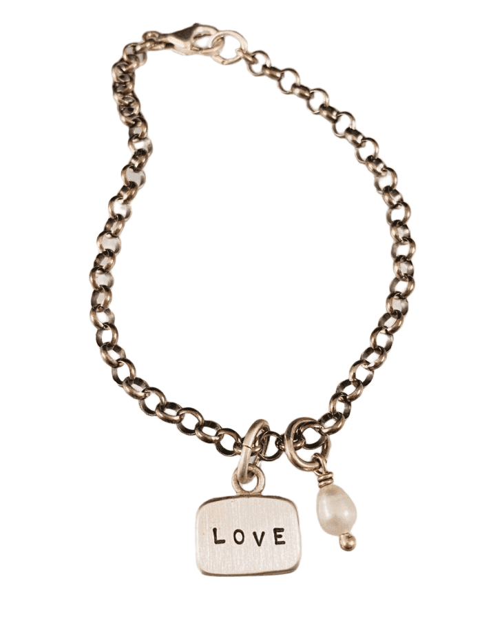 Love Sterling Silver Tag Charm Bracelet with Pearl Drop