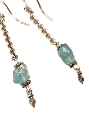 Sterling & Apatite Gemstone Chain Drop Earrings
