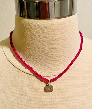 #216 Faceted Rubellite Sterling Love & Diamond Tag Necklace