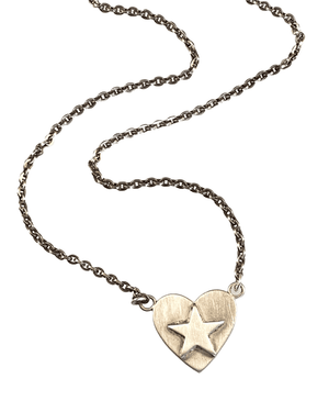 "16"" Sterling Heart Star Necklace"