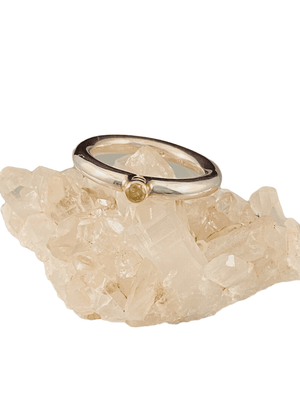Sterling & 14K Gold Yellow Diamond Ring