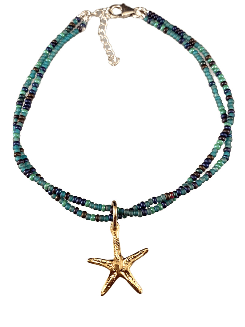 Gold Starfish Charm Double Strand Beaded Anklet Mixed Greens