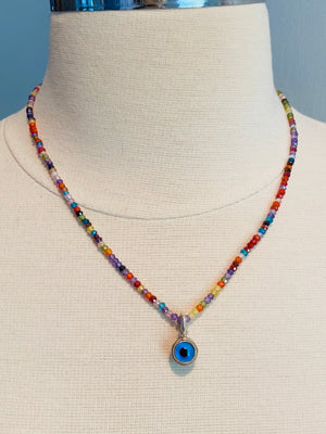 "#1018 18"" Faceted Cubic Zirconia Delicate Bead Sterling Evil Eye Necklace"