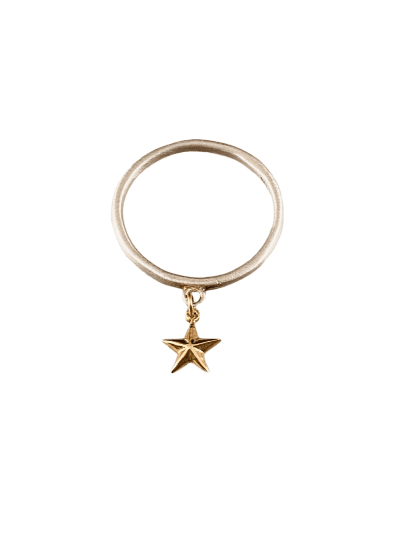 Sterling & 14K Gold Tiny Star Charm Ring