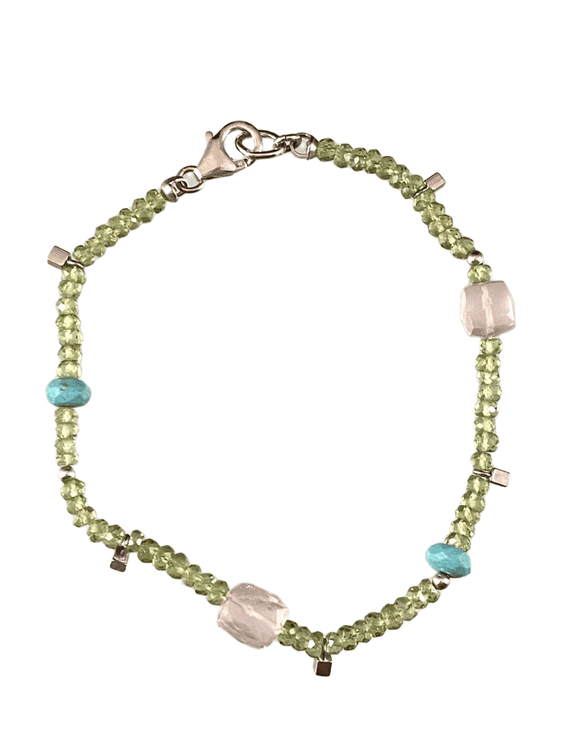 Peridot Turquoise & Rose Quartz Faceted Gemstone Beaded Bracelet