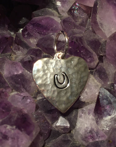Hammered Heart Horseshoe Charm for Necklace