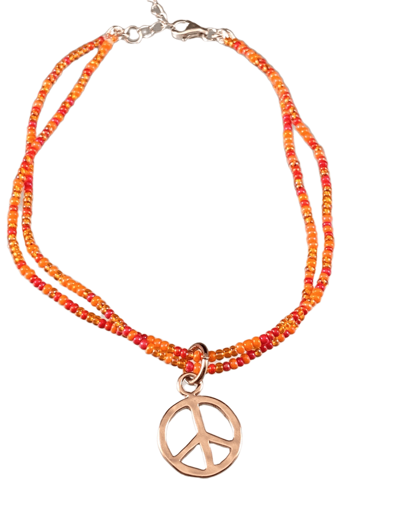 Rose Gold Peace Sign Double Strand Beaded Anklet