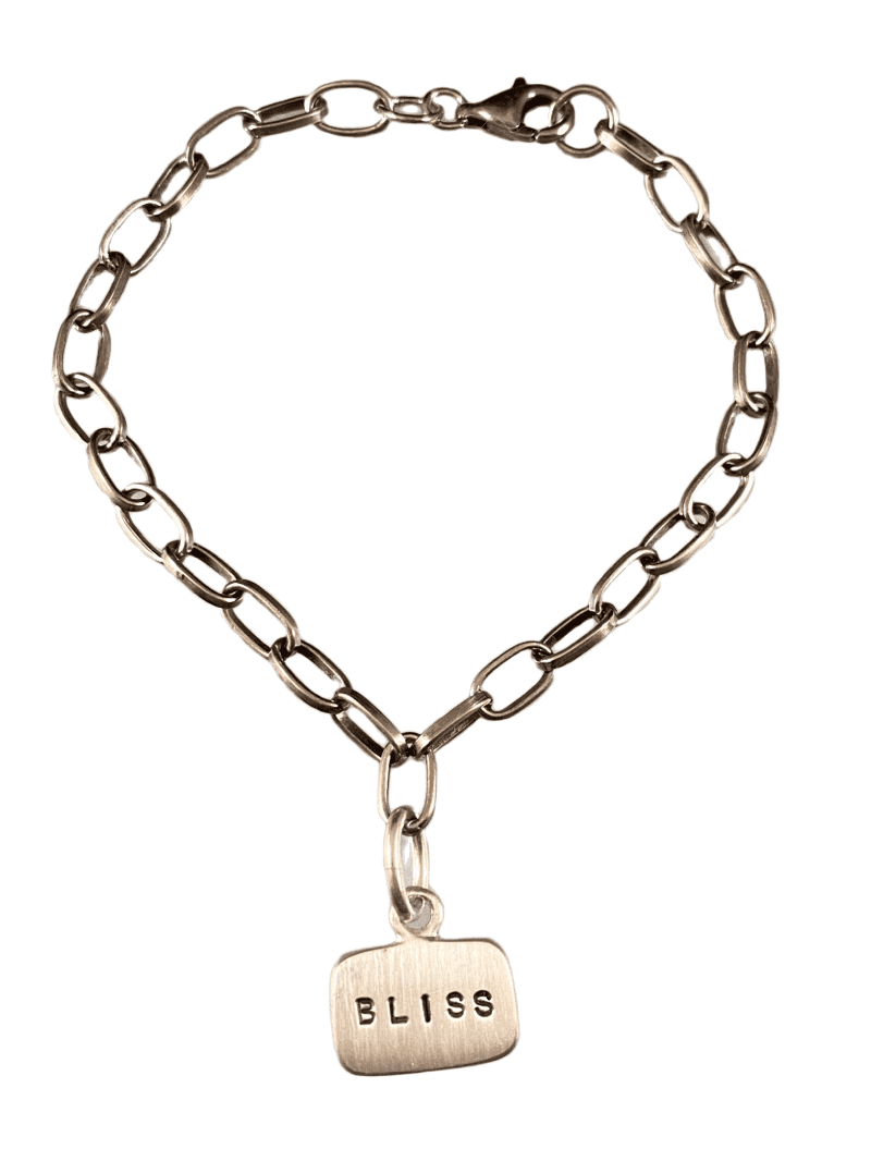 #B109 Bliss Sterling Silver Tag Charm Link Bracelet