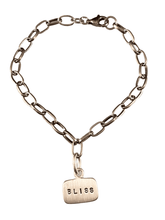 Bliss Sterling Silver Tag Charm Link Bracelet