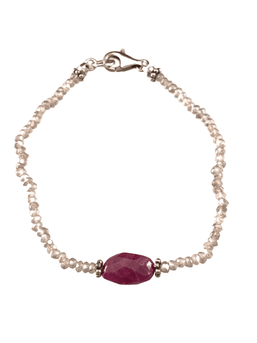 Faceted Labradorite Gemstone Bracelet with Faceted Ruby