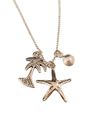 "16"" Charm Necklace with Starfish Palm Tree and Seashell"