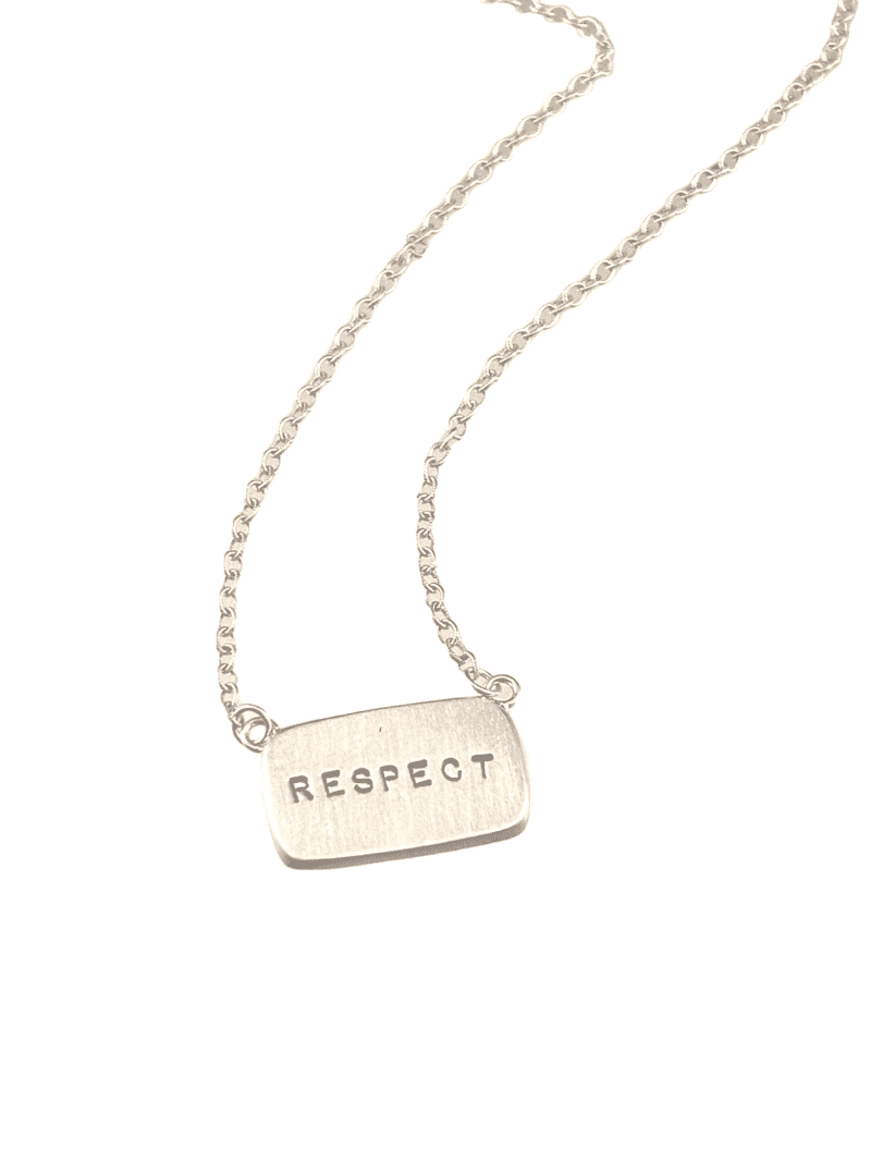 "16"" Sterling Silver 'Respect' Tag Necklace"