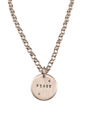 Sterling 'Peace' with Diamonds Charm Necklace