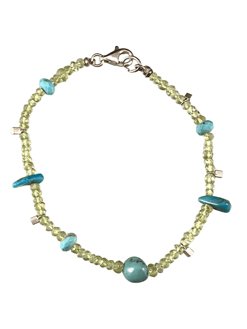 Peridot & Turquoise Faceted Gemstone Beaded Bracelet
