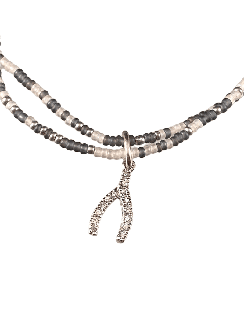 CZ Wishbone Double Strand Beaded Anklet Mixed Gray & Silver